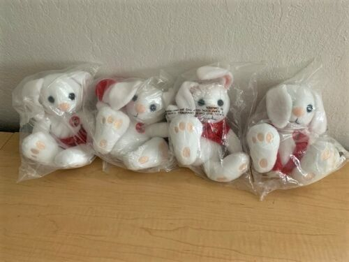 RARE 1999 COCA-COLA Australian International Bean Bag Plush Bunnies (Set of 4)