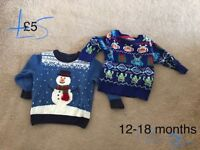 Baby boys 12-18 months christmas (xma) jumpers