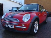 cheap mini cooper! 1.6 petrol good on insurance! 6 cd changer!