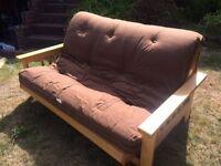 Futon Company Sofa Bed - Birch frame, double mattress in chocolate.