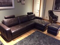 Fantastic Leather Sofa Bed (Double) & Foot Stool