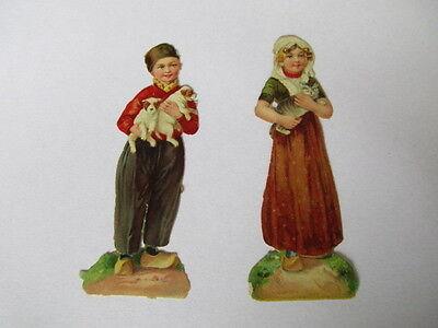 2 alte Oblatenbilder Oblaten Junge und Mädchen um 1910 ca. 8,5 cm