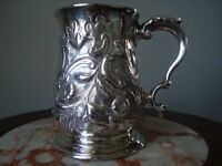 EARLY GEORGE III SILVER EMBOSSED BALUSTER TANKARD FRANCIS CRUMP 1769 LONDON 233g REDUCED FROM £625