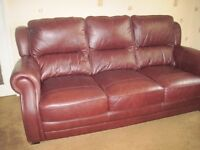 Brown Leather 3 Seater Sofa and Recliner Armchair - - - £120