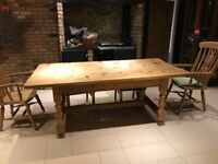 Large Antique pine farmhouse style table 214x105cms. Made from solid anyique pine 4cms thick.