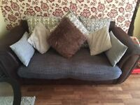 RRP £1200.. HIGH QUALITY! 2x 3 seater Sofa Brown/Grey Suede/Cushion in very good condition