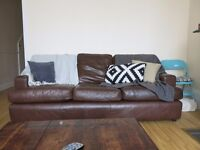 John Lewis Sofa set for sale - genuine leather (dark brown)