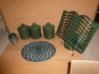 Green Ceramic Tea, Coffee & Sugar Caddies, glass flour shaker, metal cookbook holder & pot stand.