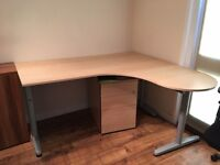 Birch desk - Ikea Galant with extension