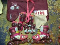 Roller Blades with matching safey pads and carry bag