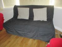 IKEA 2 SEATER SOFA BED BLACK WITH GREY CUSHIONS