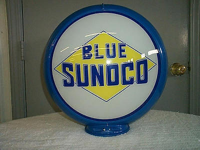 gas pump globe SUNOCO BLUE repro. 2 GLASS LENS in a BLUE plastic body NEW