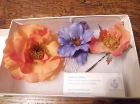Beautiful handmade faux flower bridal hair grips - wedding, prom, occasion