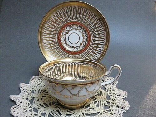 Cathedral Gold Royal Chelsea fabulous swags and rust  Flat cup and saucer