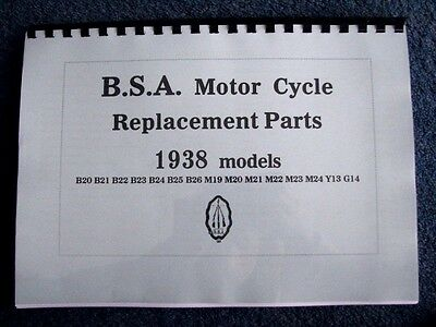 BSA 1938 Parts Book for B20 - B25 and M20 - M24 models Y13 and G14 - PWBP10