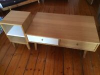 Oak coffee table with matching side unit