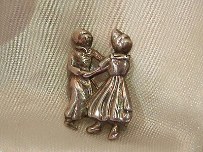 Vintage 1940's Unsigned Sterling Silver Plain Dutch Couple Pin  - 1940's Couples Costumes