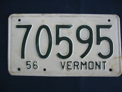 1956 VERMONT LICENSE PLATE NUMBER 70595,GREEN ON WHITE, VERMONT