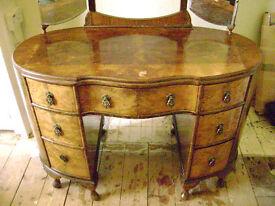 Antique walnut bedroom suite, wardrobe, dresser, tall boy
