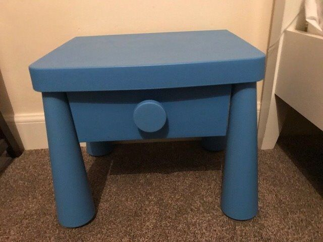 Ikea Mammut Kids Plastic Blue Bedside Table Excellent Condition