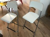 PAIR OF IKEA FRANKLIN bar stool with backrest, foldable