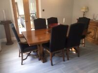 Solid Mahogany Dining Room Table, Chairs and Side Board