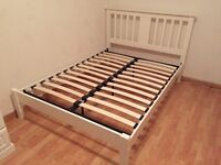White wood double bed frame