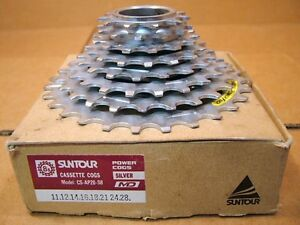 New-Old-Stock-Suntour-PowerFlo-APII-8-Speed-Cassette-11x28-Silver-Finish