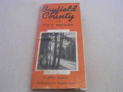 1950's Bayfield County Wisconsin Tourist Map with Map &  A Large List of Resorts