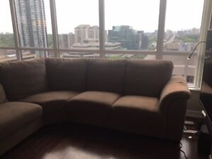 Sectional l shaped sofa couch Brown
