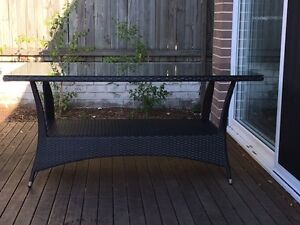 Chocolate Brown Outdoor Wicker Rattan Dining Table with Glass Top Mosman Mosman Area Preview