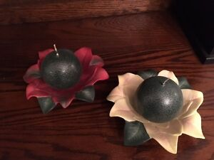 Retired Partylite Poinsettia Pair candle holders with candles Kitchener / Waterloo Kitchener Area image 2
