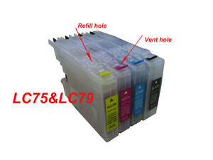 Refillable ink cartridge for Brother LC71 LC75 LC79 MFC-J435W