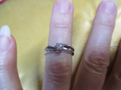 14K white gold Diamond engagement and wedding band set -size 5