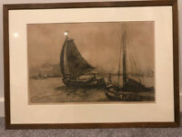 Etching of Rotterdam port by Dutch artist Jan Sirks (1885-1938) signed painting - Christmas present