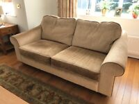 Reduced! Beige Velour sofa. 2 1/2 seater by Collins and Hayes