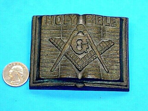VINTAGE HEAVY BRASS MASONIC HOLY BIBLE PAPER WEIGHT