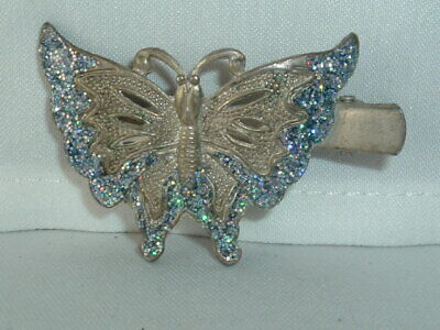 VINTAGE GOLD TONE METAL GLITTER BUTTERFLY HAIR CLIP BARRETTE HAIR ACCESSORY