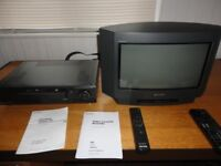 video cassette recorder sony and 16 inch sony tv