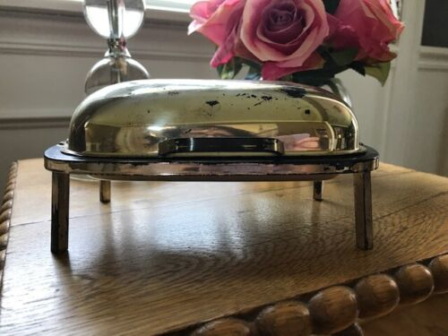 Amston Silverplate 1902 Roll Top Covered Butter Dish w Feet - Works Great