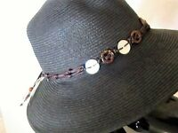 Ladies black summer hat with a detail headband