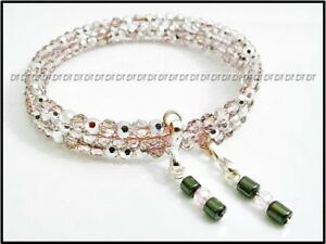 ➤ ONE SIZE CRYSTAL PINK SILVER BEAD NEW MEMORY WIRE BRACELET