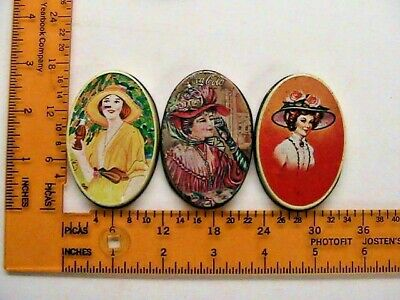 """Vintage Sewing Kits 3"""" Oval Three Small Tins With Accessories One is Coca Cola"""