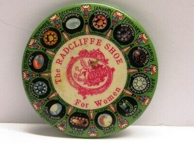 VINTAGE EARLY CELLULOID ADV POCKET MIRROR RADCLIFF SHOE FOR WOMEN,BIRTHSTONE