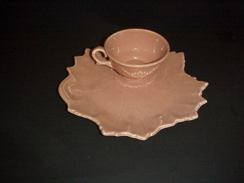 Russel Wright Woodfield Steubenville Snack Set Cup & Plate Coral Salmon Pink