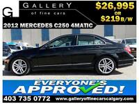 2012 Mercedes C250 4Matic $219 bi-weekly APPLY NOW DRIVE NOW