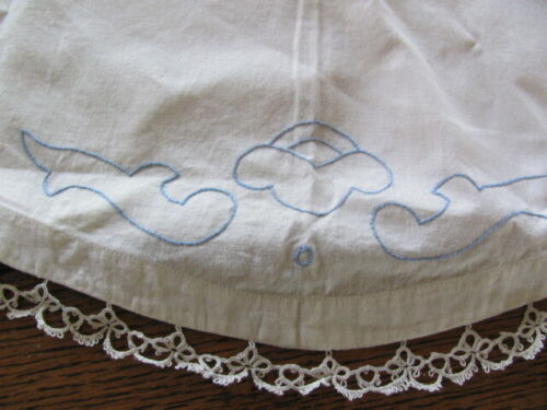 Antique pair white cotton pillow shams tatted lace blue embroidery