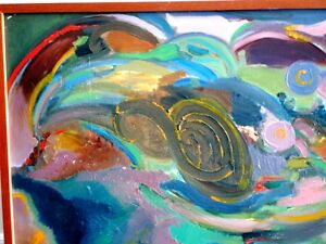 """Contemporary ORIGINAL OIL PAINTING ABSTRACT Polish 49""""L Krwawicz Kitchener / Waterloo Kitchener Area image 3"""