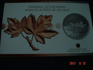 2012 - FAREWELL TO THE PENNY - $20 FOR $20 SERIES COIN.