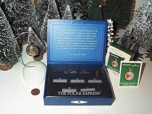 HALLMARK POLAR EXPRESS MINIATURE TRAIN SET OF 7 AND CONDUCTOR